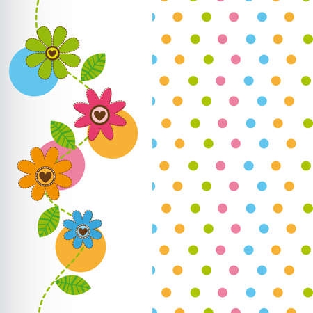cute flowers with dots background. vector illustration