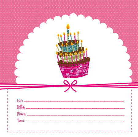 pink birthday card, background. vector illustration Vector