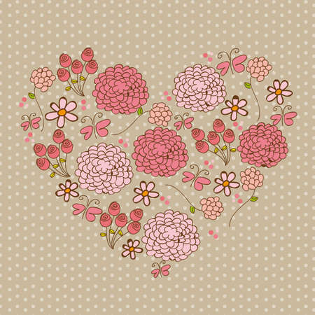 pink cute flowers over beige background. vector Vector