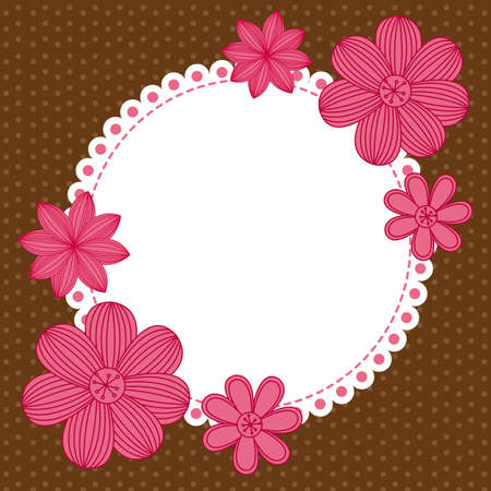 cute background with pink flowers with space for copy. vector