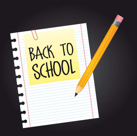 back to school over paper with pencil. vector illustration Vector