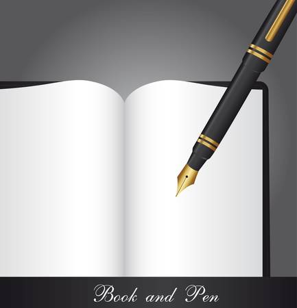 blank book with pen over gray background. vector illustration Stock Vector - 13105837