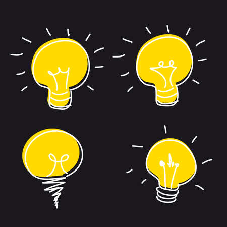 cute bulb electric isolated, hand drawing. vector illustration