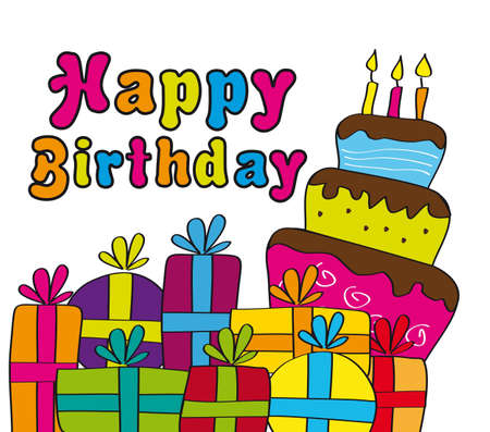 happy birthday card with gifts and cake. vector illustration Vector