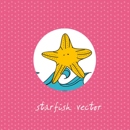 cute starfish with sea over pink background. vector illustration Stock Vector - 13105893