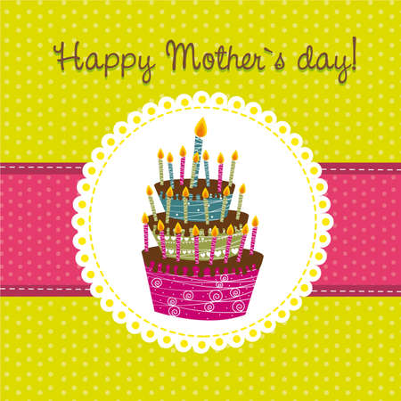 happy mothe�s day with cake over green background. vector Vector