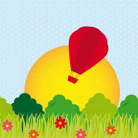 cute landscape with airballoon and leaves. vector illustration Vector
