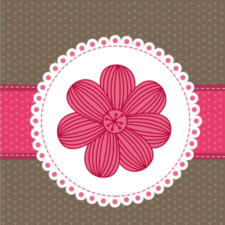 pink  flower over cute background. vector illustration Vector