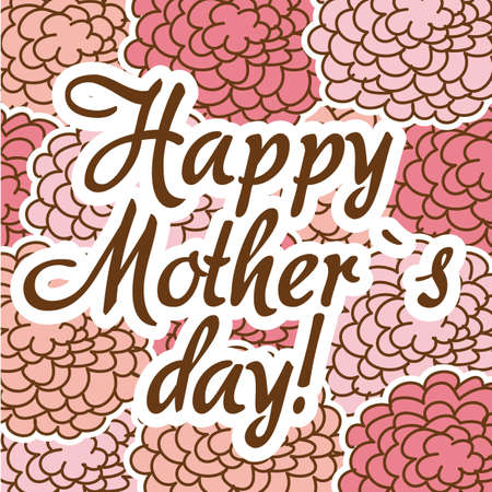 happy mother�s day over pink roses background. vector illustration Vector