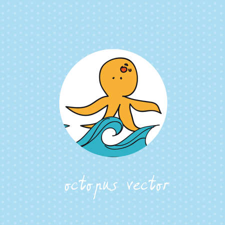 cute octopus with sea over blue background. vector illustration Vector