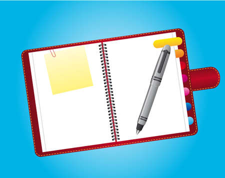 notebook with papers and pen over blue background. vector Vector