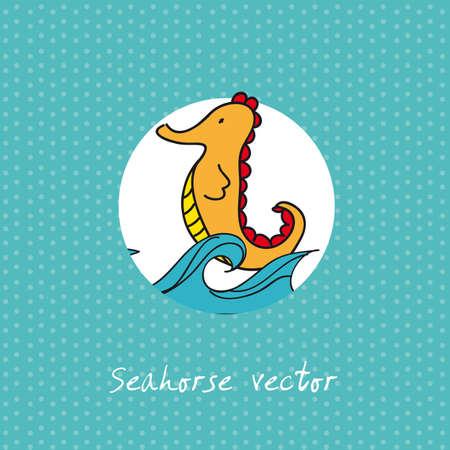 horsefish: caballito de mar linda sobre fondo color aguamarina. ilustraci�n vectorial Vectores
