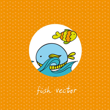fish with sea over orange background. vector illustration Vector