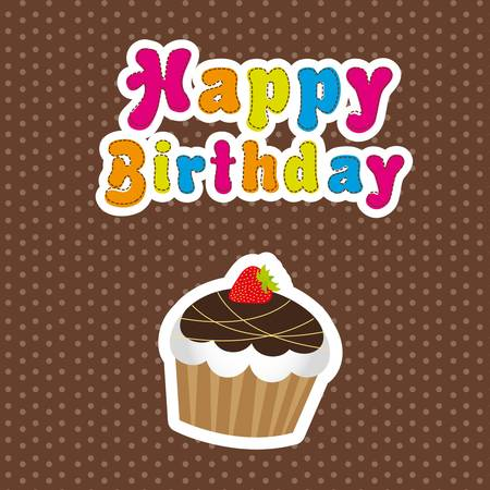 happy birthday with  cup cake over brown background. vector Stock Vector - 13105948