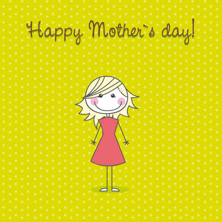 happy mother�s day with cute girl, hand drawing. vector Illustration