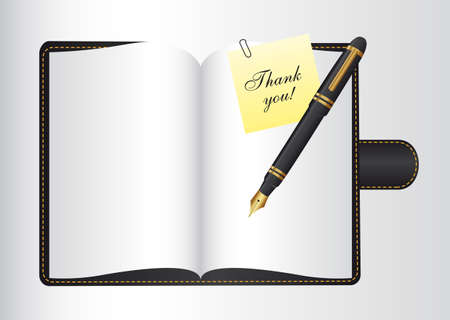 thank you over book open with pen. vector illustration Vector