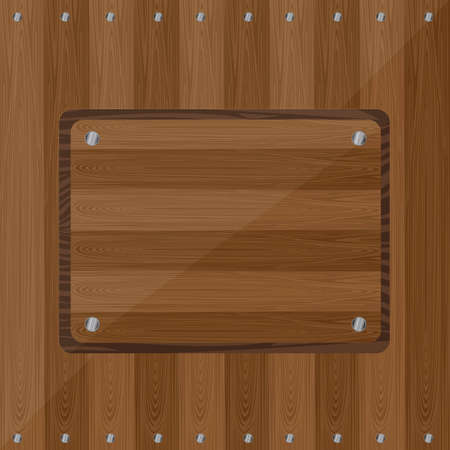wooden with screws background. vector illustration Vector