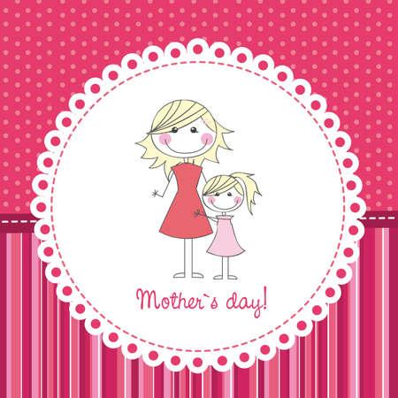 어머니의: 귀여운 배경 위에 어머니와 딸, 손을 그리기. 벡터 일러스트