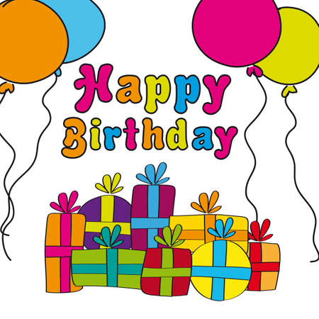 happy birthday with gifts and balloons, hand drawing. vector Stock Vector - 13105899