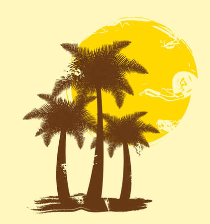 silhouette palms with sun, hand drawing. vector illustration Vector