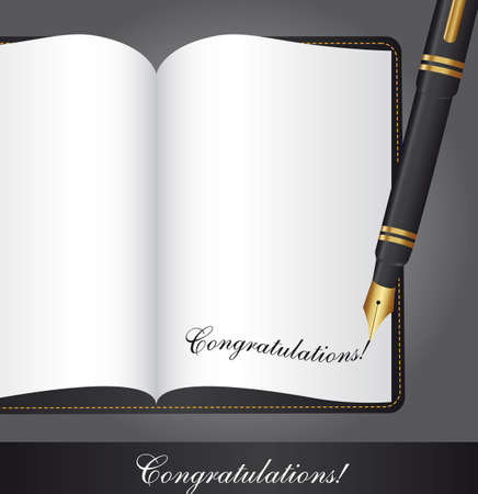 congratulations text over book with pen. vector illustration Vector