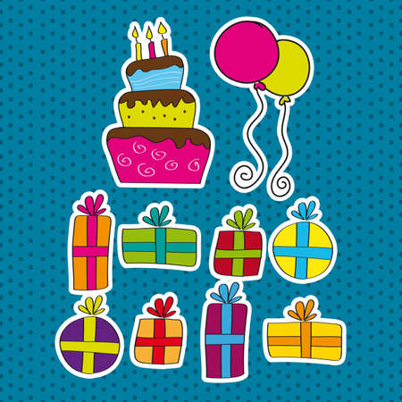 birthday elements over blue background. vector illustration Vector