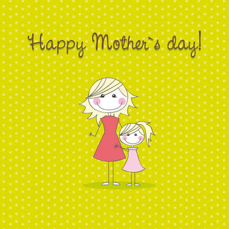 mother and daughter over green background, hand drawing. vector Vector