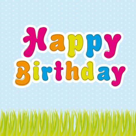 happy birthday with grass over blue background. vector Stock Vector - 13105985