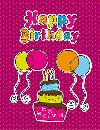happy birthday with cake and balloons. vector illustration Vector