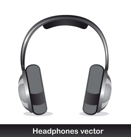 headphones with shadow over white background. vector Stock Vector - 13216241