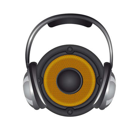 headphones with speaker isolated over white background. vector Stock Vector - 13216412