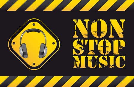 speaker grill: non stop music text with headphones. vector illustration