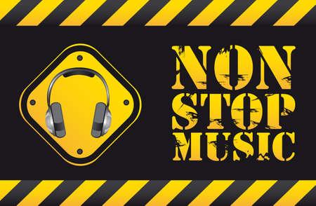 sound system: parada de texto que no m�sica con auriculares. ilustraci�n vectorial Vectores