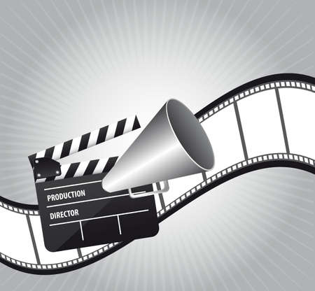 cinematography: clapper board with megaphone  and film strip. vector illustration