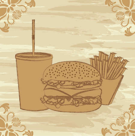 hamburger with french fries and bevege, grunge fast food. vector Stock Vector - 13216438