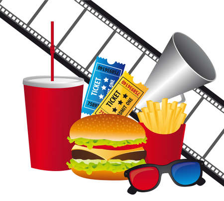 cinema symbols with fast food over white background. vector Vector