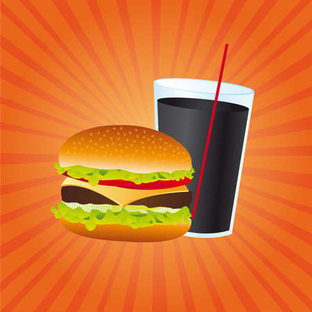 hamburger and beverage over orange background, fast food. vector Stock Vector - 13216313