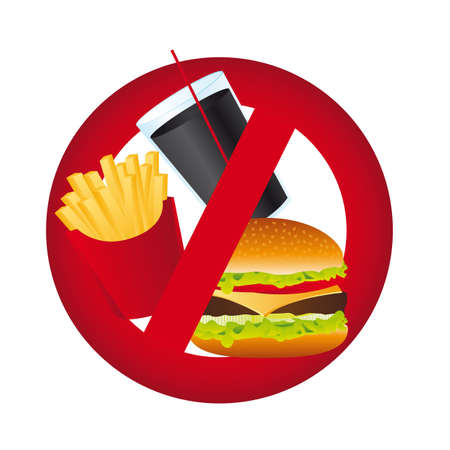 prohibido: ninguna se�al de alimentos aislados sobre fondo blanco. ilustraci�n vectorial