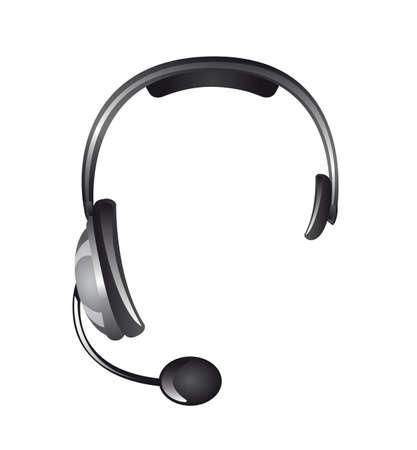 handsfree phone: headphones isolated over white background, receptionist. vector Illustration