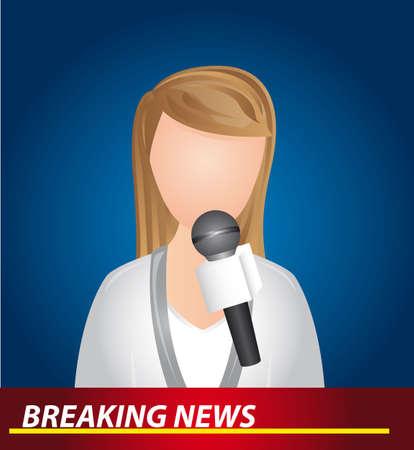 reportero: periodista con micr�fono, noticias de �ltima hora. ilustraci�n vectorial