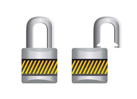 padlock open and closed isolated over white background. vector Vector