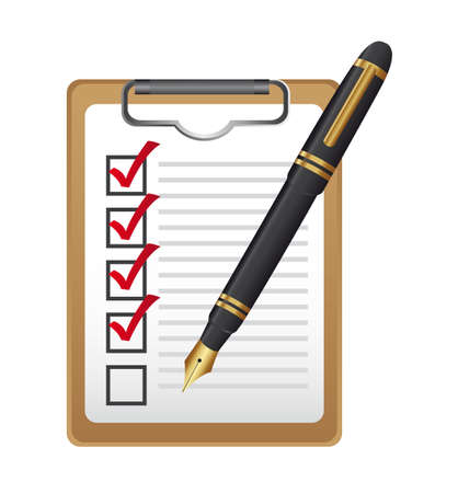 todo: checklist on clipboard with pen isolated over white background. vector Illustration
