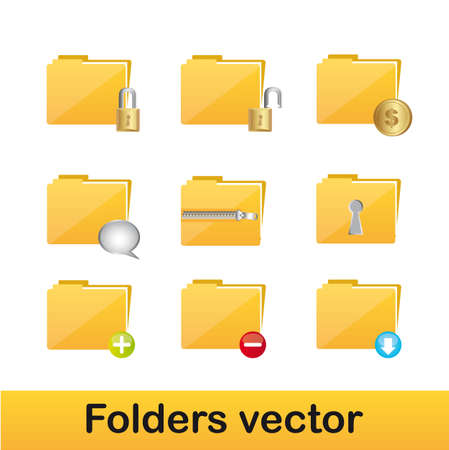 yellow foldders with icons isolated over white background. vector Vector
