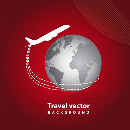 planet with airplane over red background, travel. vector illustration Vector