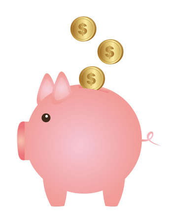 piggy with coins isolated over white background. vector Vector