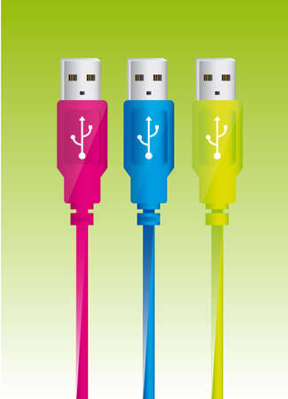 colorful usb plug over green background. vector illustration Stock Vector - 13216237