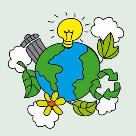 recycle paper: cute ecology with planet, hand drawing. vector illustration