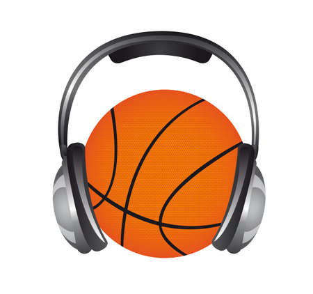 headphones with basketball isolated over white background. vector Stock Vector - 13216439
