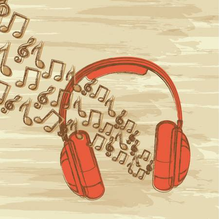 headphones and music notes, grunge music. vector illustration Vector