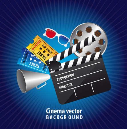 кинематография: кино элементы на синем фоне. векторные иллюстрации